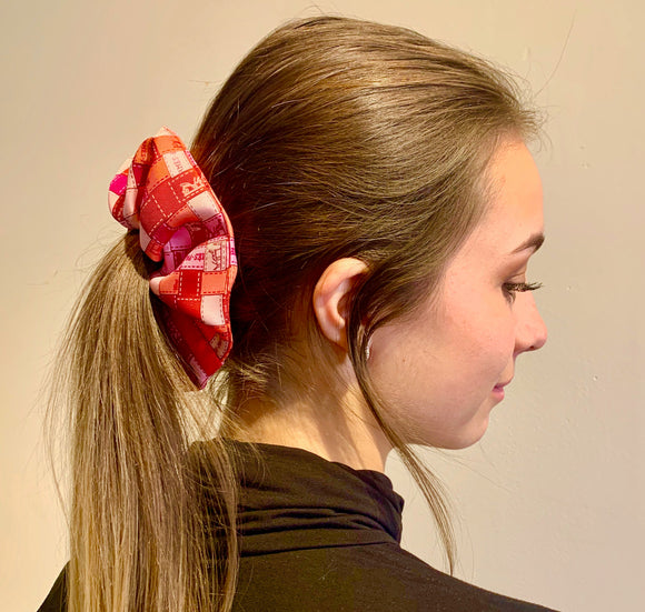 red pink Bolduc ribbon Hermes designer scrunchie luxury