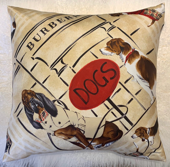 tan Burberry dogs pillow luxury designer