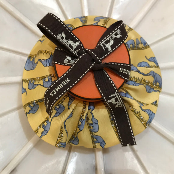 elephants yellow Hermes designer scrunchie luxury