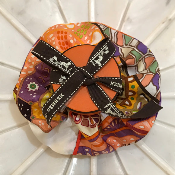 patterns brown Hermes designer scrunchie luxury