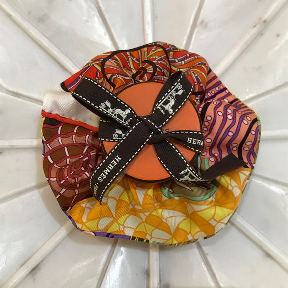 pattern yellow brown Hermes designer scrunchie luxury