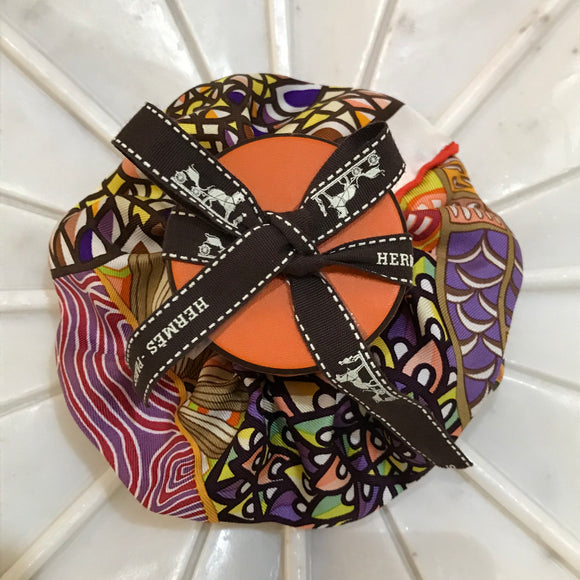 waves flowers Hermes designer scrunchie