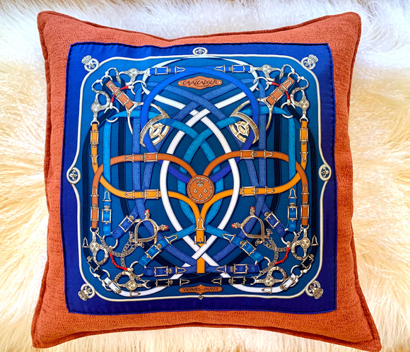 blue orange belts Hermes designer pillow