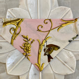 bird golden embellishments pink white Hermes face mask