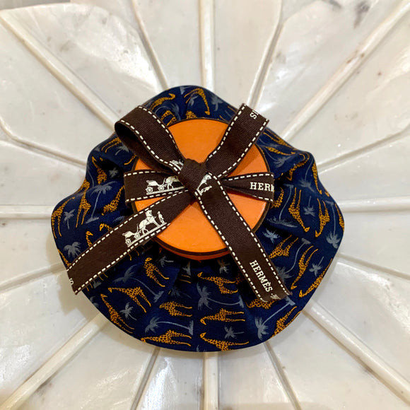 giraffe yellow brown blue Hermes designer luxury scrunchie