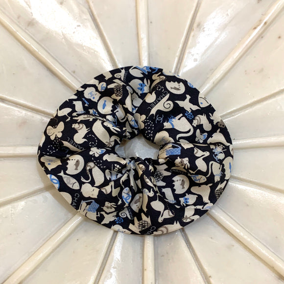 Chanel scrunchie animals blue black white