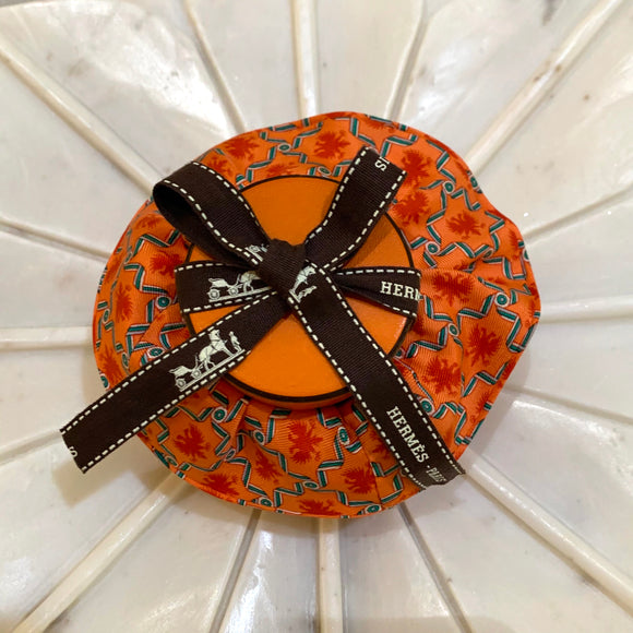 orange green white Hermes designer scrunchie