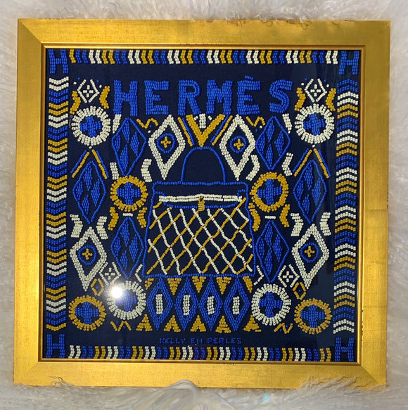 """Kelly En Perles"" framed luxury Hermes scarf blue"