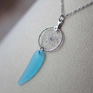 Dream Catcher Jewellery with Leaf-shaped Sea Glass