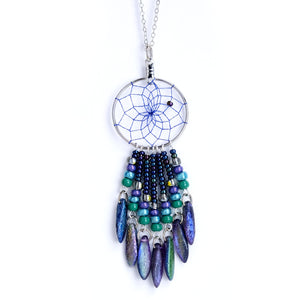 "Handwoven dream catcher web pendant beautifully decorated with multi-coloured picasso glass daggers and beads. Dream Catcher ring size is 1"". Necklace length is 18""."