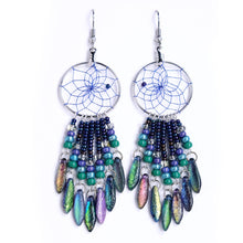 "Load image into Gallery viewer, Handwoven dream catcher web earrings beautifully decorated with multi-coloured picasso glass daggers and beads. Dream Catcher ring size is 1""."