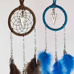 "2"" Dream Catchers with Chain and Metal Arrowhead"