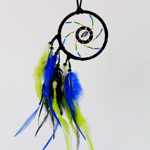 Handmade beaded black dream catcher detailed with a blue goldstone semi-precious stone enclosed in a web in the midddle of the web.