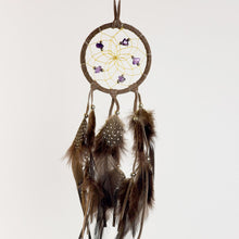 "Load image into Gallery viewer, 2.5"" Dream Catcher, in brown hide, detailed with amethyst semi-precious stones and gold metallic beads"