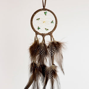 "2.5"" Dream Catcher, in brown hide, detailed with aventurine semi-precious stones and gold metallic beads"