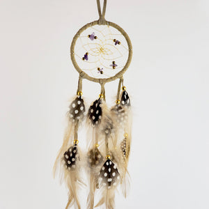 "2.5"" Dream Catcher, in tan hide, detailed with amethyst semi-precious stones and gold metallic beads"