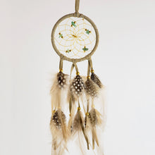 "Load image into Gallery viewer, 2.5"" Dream Catcher, in tan hide,  detailed with aventurine semi-precious stones and gold metallic beads"