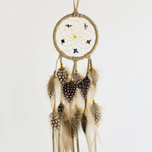 "Load image into Gallery viewer, 2.5"" Dream Catcher, in tan hide, detailed with lapis semi-precious stones and gold metallic beads"