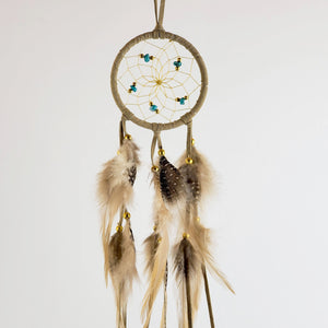 "2.5"" Dream Catcher, in tan hide, detailed with turquoise semi-precious stones and gold metallic beads"