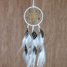 "Load image into Gallery viewer, 2.5"" Dream Catcher, in white hide, detailed with amethyst semi-precious stones and gold metallic beads"