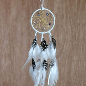 "2.5"" Dream Catcher, in white hide, detailed with amethyst semi-precious stones and gold metallic beads"