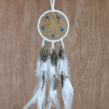 "Load image into Gallery viewer, 2.5"" Dream Catcher, in white hide, detailed with turquoise semi-precious stones and gold metallic beads"