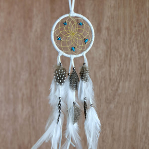 "2.5"" Dream Catcher, in white hide, detailed with turquoise semi-precious stones and gold metallic beads"