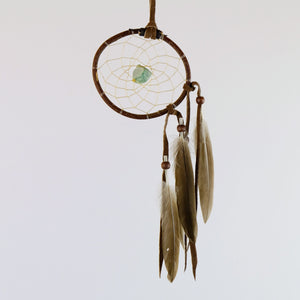 "2.5"" Natural Twig Dream Catchers with Raw Aventurine Semi-precious Stone in the middle of the web."