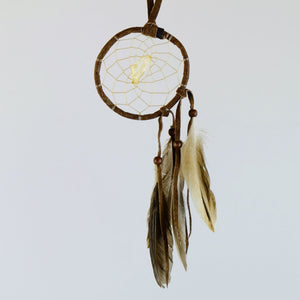 "2.5"" Natural Twig Dream Catchers with Raw Citrine Semi-precious Stone in the middle of the web."