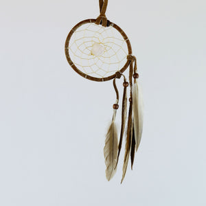 "2.5"" Natural Twig Dream Catchers with Raw Fluorite Semi-precious Stone in the middle of the web."