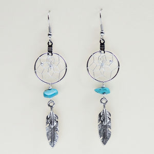 "Handwoven dream catcher earrings detailed with turquoise semi-precious stones and metal feather charm. Dream Catcher ring size is .75""."