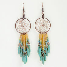"Load image into Gallery viewer, Handwoven dream catcher web earrings beautifully decorated with turquoise picasso glass daggers and beads. Dream Catcher ring size is 1""."