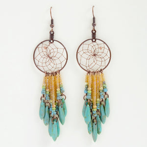 "Handwoven dream catcher web earrings beautifully decorated with turquoise picasso glass daggers and beads. Dream Catcher ring size is 1""."