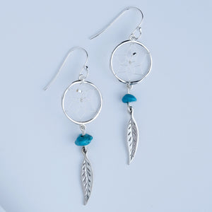 "Steorra 1/2"" Round Dream Catcher Sterling Silver Earrings detailed with Turquoise Stones"