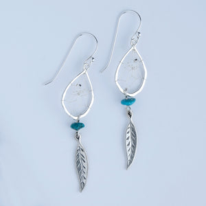 "Steorra 1/2"" Teardrop Dream Catcher Sterling Silver Earrings detailed with Turquoise Stones"