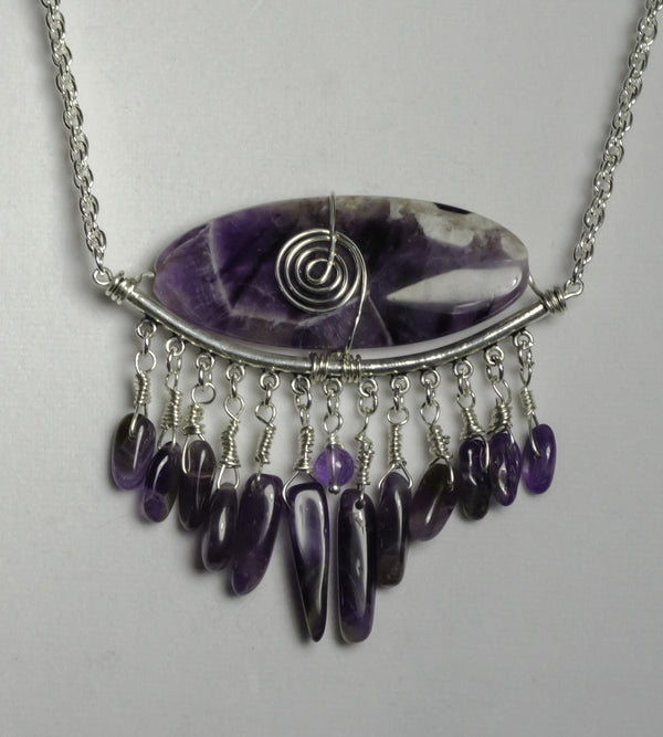 amethyst, sterling silver wire, sp chain, sp lobster clasp