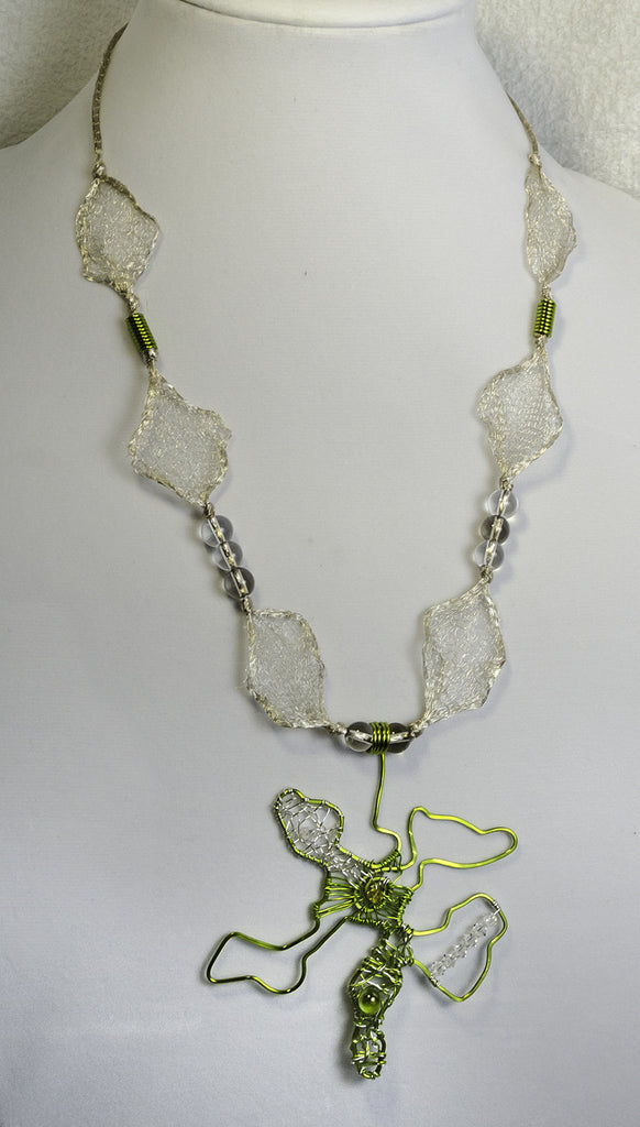 Wire 'lace' ribbon, quartz beads, ss clasp, swarvoski crystals