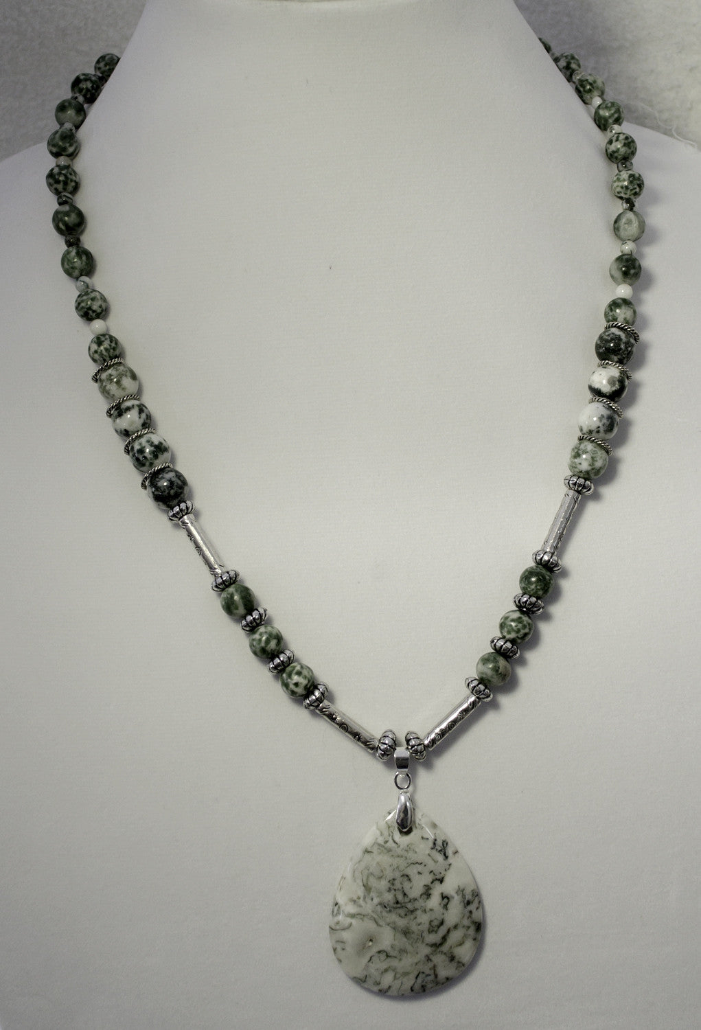 Tree agate pendant and beads, Tibetan silver stamped tubes