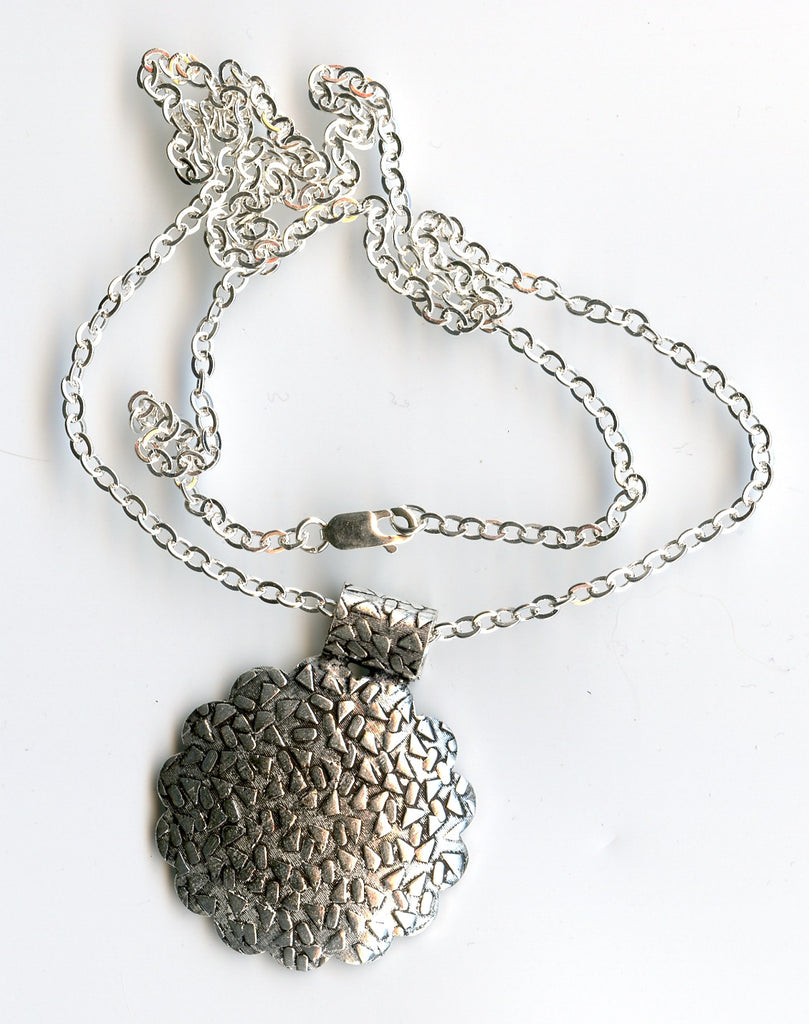 silver plated copper pendant, ss lobster clasp. Sp chain