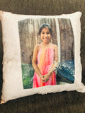 Double sided sequin photo cushion