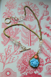 Blue Rose Pendant Necklace