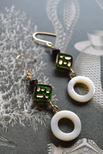 Load image into Gallery viewer, Ring of Pearl & Green Glass Earrings
