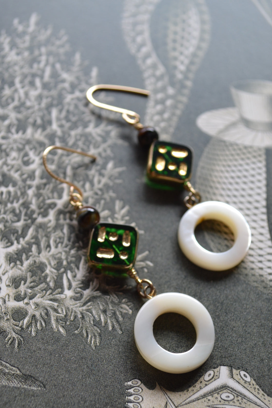 Ring of Pearl & Green Glass Earrings