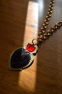 Heart & Ruby Flame Necklace