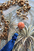 Load image into Gallery viewer, Rose & Blue Tassel Necklace