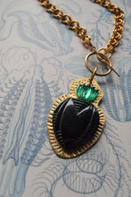 Load image into Gallery viewer, Heart & Emerald Flame Necklace