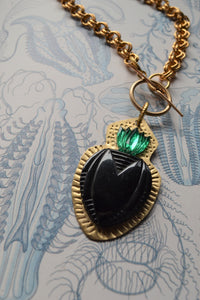 Heart & Emerald Flame Necklace