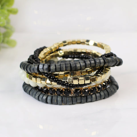 {Black & Grays} Boho Stack Bracelet