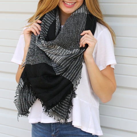 Black & Gray Blanket Scarf ~ Funky Monkey ~ blanket scarf