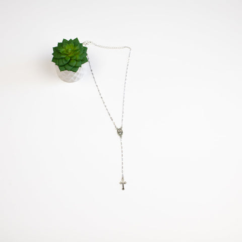 Lariat Style Medallion and Cross Necklace - Silvertone